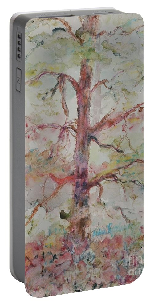 Forest Portable Battery Charger featuring the painting Pastel Forest by Nadine Rippelmeyer