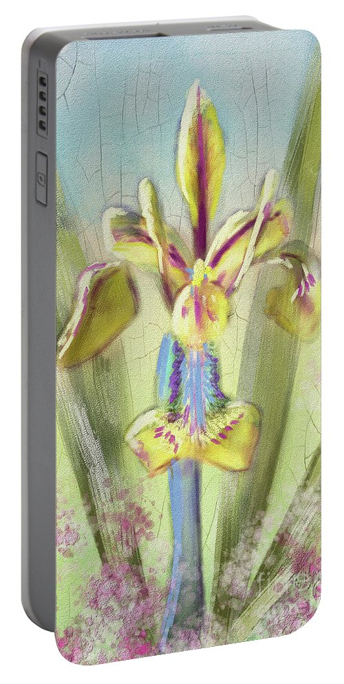 Iris Portable Battery Charger featuring the digital art Pastel Iris by Lois Bryan