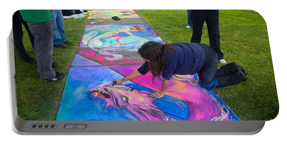 People Portable Battery Charger featuring the photograph Pastel Mural by Inga Spence