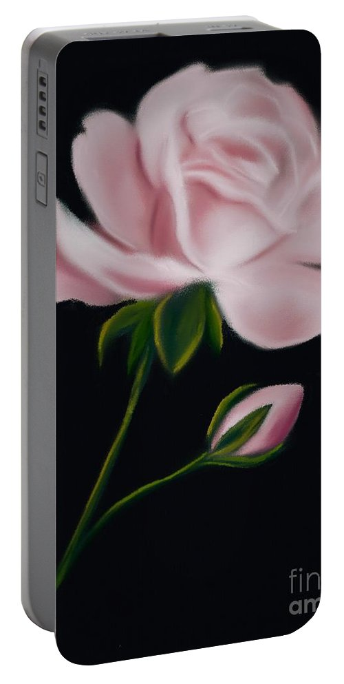 Floral Portable Battery Charger featuring the digital art Pastel Pink Rose by Michele Koutris