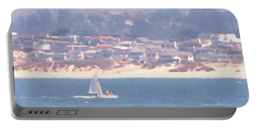Sailing Portable Battery Charger featuring the photograph Pastel Sail by Pharris Art