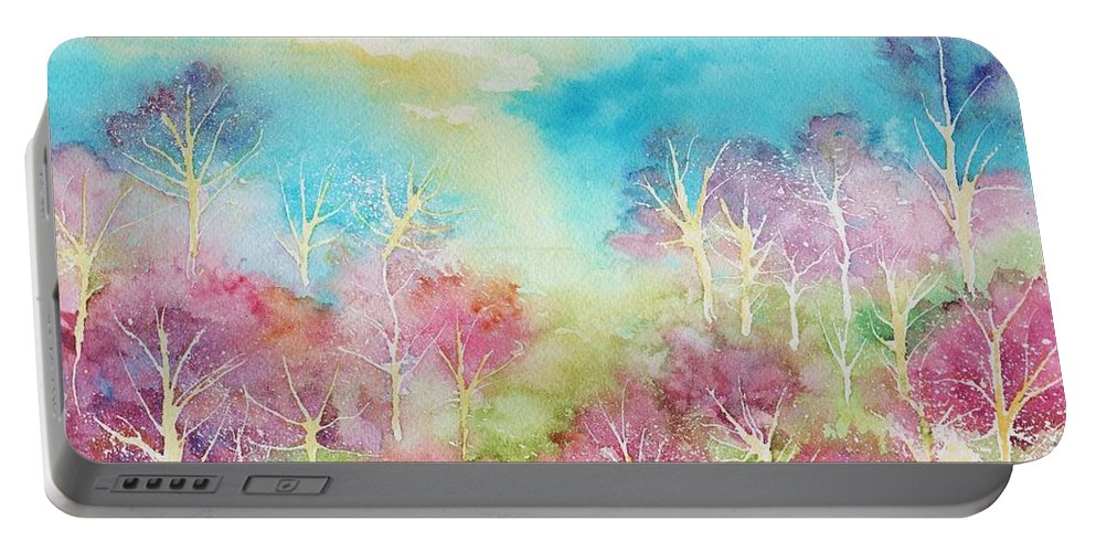 Landscape Portable Battery Charger featuring the painting Pastel Spring by Brenda Owen