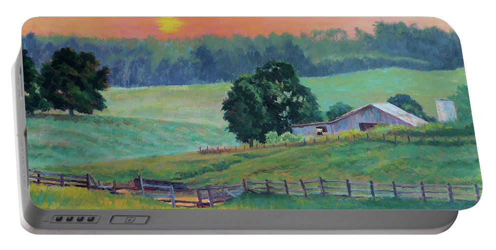 Impressionism Portable Battery Charger featuring the painting Pastoral Sunset by Keith Burgess