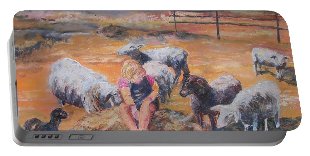 Farmstead Portable Battery Charger featuring the pastel Pasture Acquaintances by Alicia Drakiotes