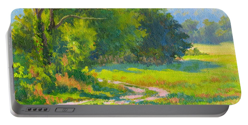 Landscape Portable Battery Charger featuring the painting Pasture Road by Keith Burgess