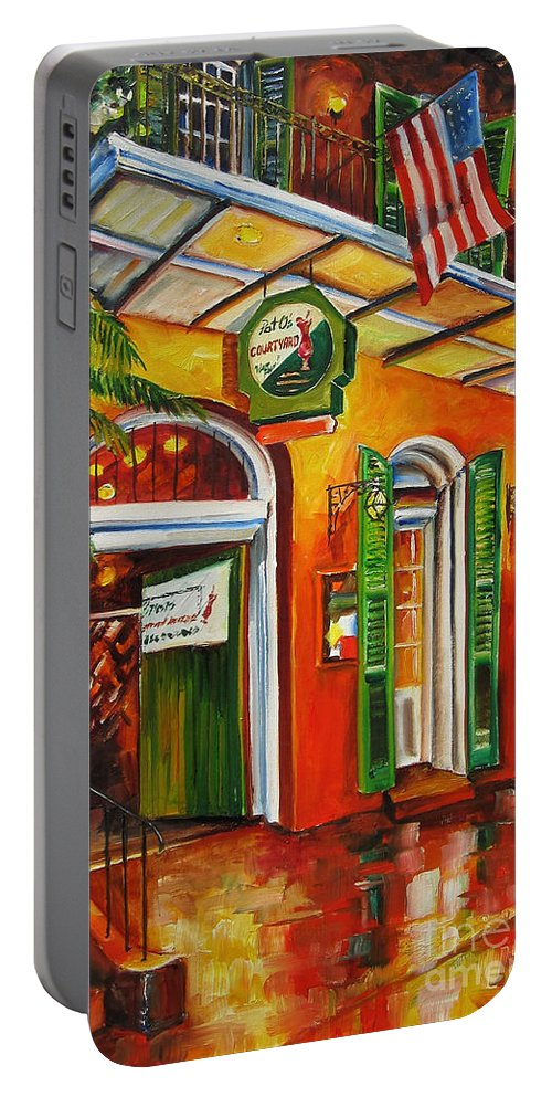 New Orleans Portable Battery Charger featuring the painting Pat O'brien's Bar On Bourbon Street by Diane Millsap