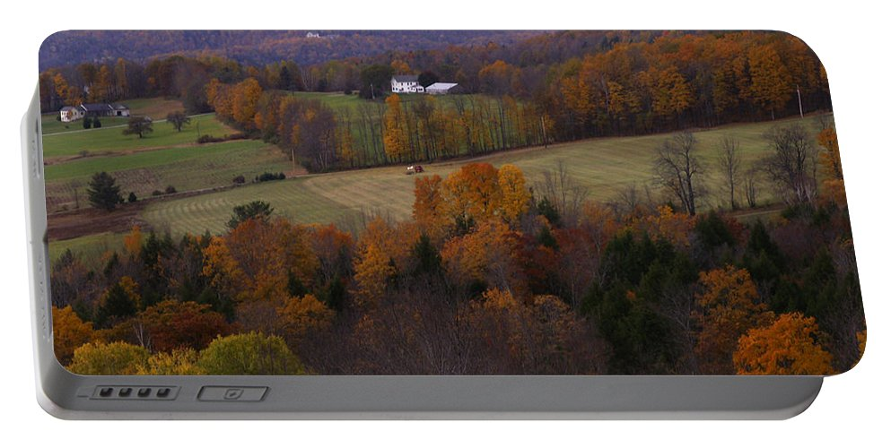 Vermont Portable Battery Charger featuring the photograph Patch Worked Mountains In Vermont by Nancy Griswold