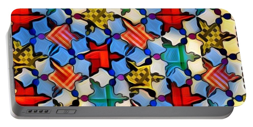 Digital. Posters. Multi-color. Portable Battery Charger featuring the digital art Patches by Lawrence Allen