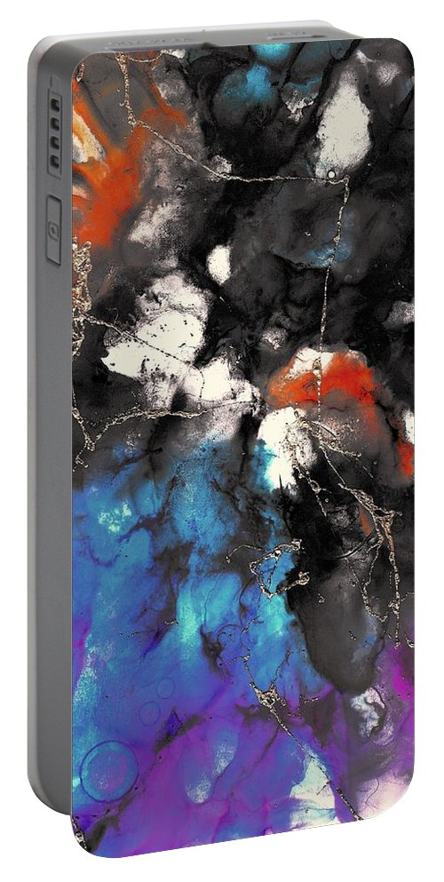 Painting Portable Battery Charger featuring the painting Patches Of Orange by Louise Adams