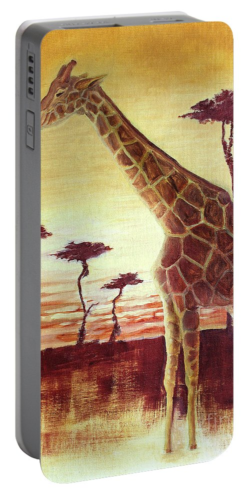 Animal Portable Battery Charger featuring the painting Patches by Todd Blanchard