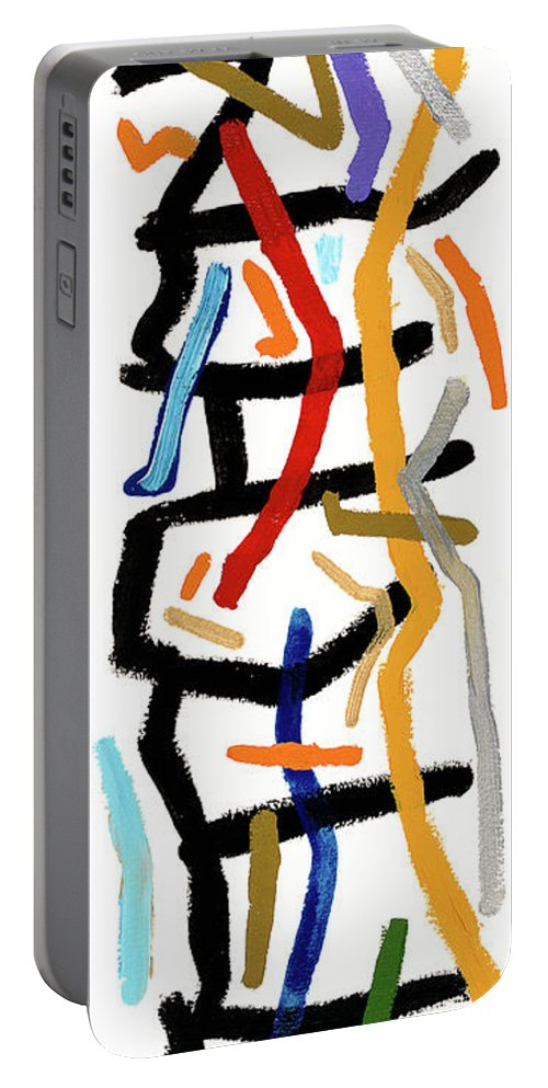 Abstract Portable Battery Charger featuring the painting Patchwork by Bjorn Sjogren