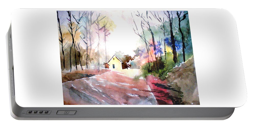 Nature Portable Battery Charger featuring the painting Path In Colors by Anil Nene