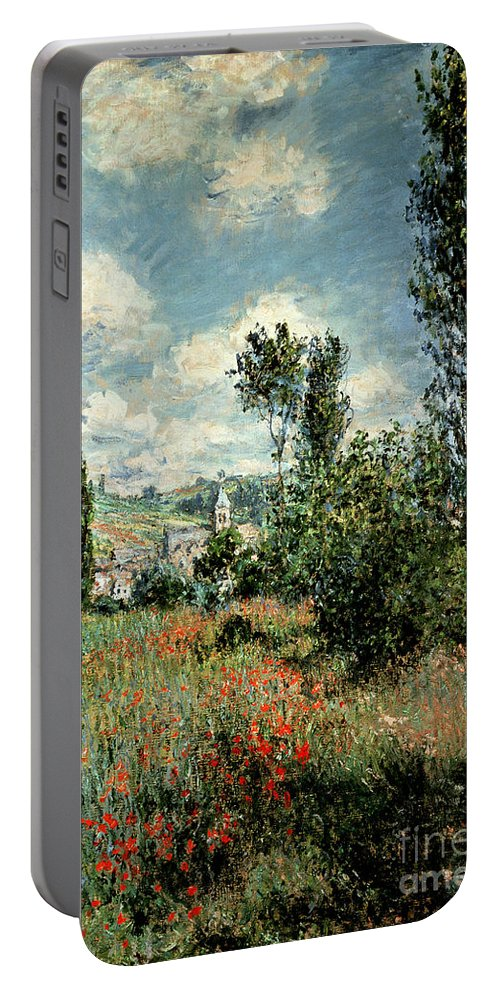 Path Portable Battery Charger featuring the painting Path through the Poppies by Claude Monet