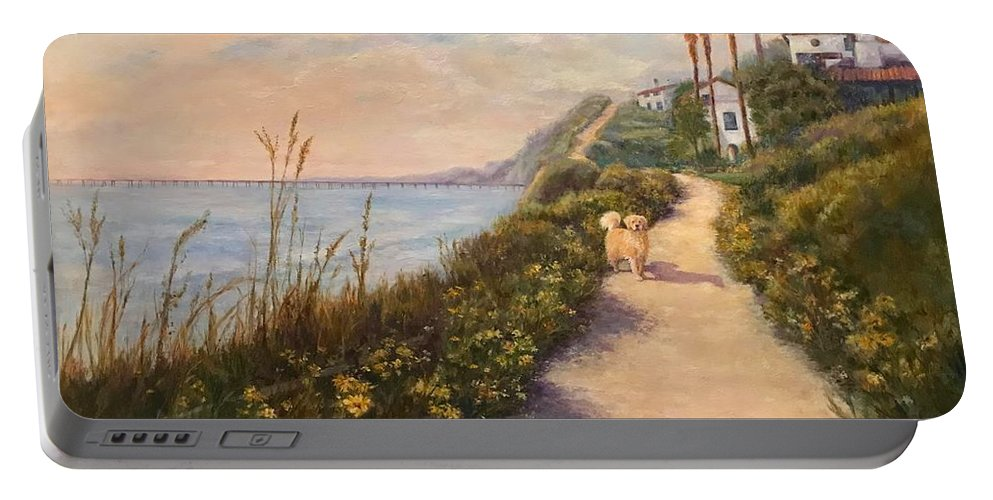 Landscape Portable Battery Charger featuring the painting Path To Bacara , With Golden by Carolyn Paterson