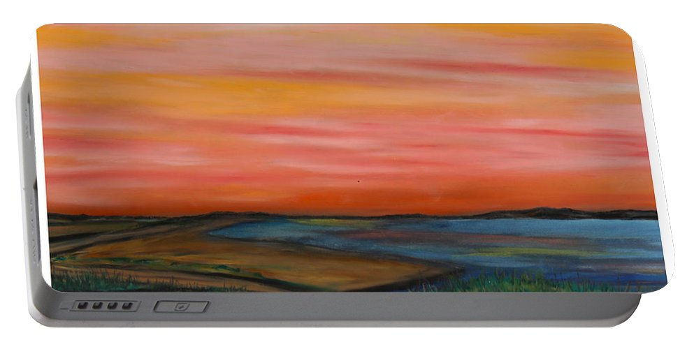 Water Coastal Sunset Ocean Coastal Marsh Blue Sand Beach Grass Dunes Red Yellow Pink Blue Green Sand Heat Passion Peace Tranquility Spiritual Portable Battery Charger featuring the pastel Path To Peace by Daniel Dubinsky