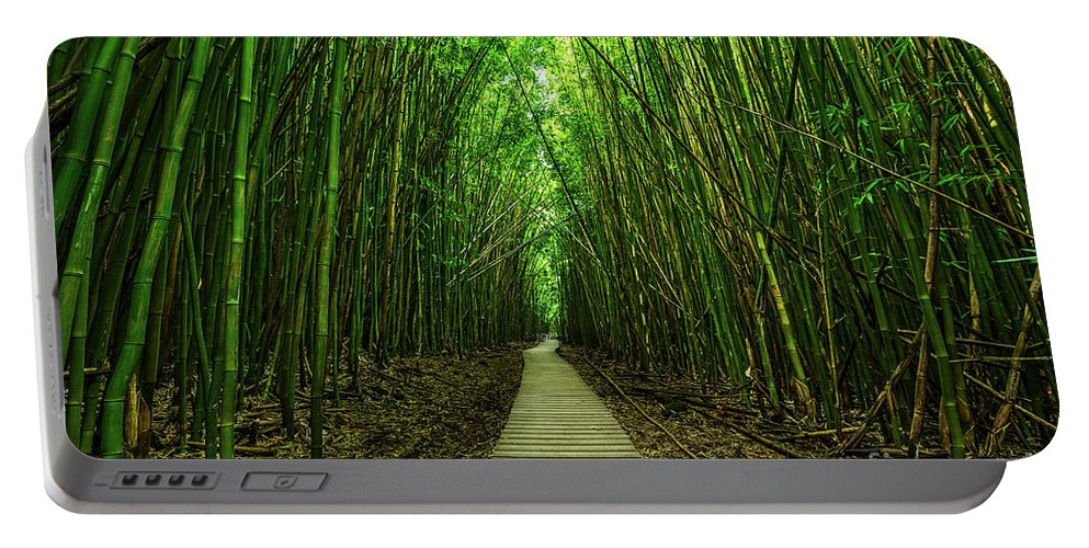 Bamboo Forest Portable Battery Charger featuring the photograph Path To Zen by Jamie Pham