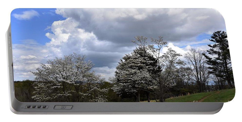 Trees Portable Battery Charger featuring the photograph Pathway Along The Dogwood Trees by Hughes Country Roads Photography