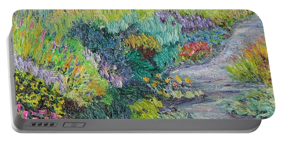 Flowers Portable Battery Charger featuring the painting Pathway Of Flowers by Richard Nowak