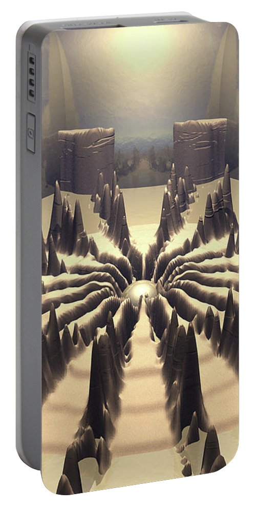 Surreal Portable Battery Charger featuring the digital art Pathway Of Peaks by Phil Perkins
