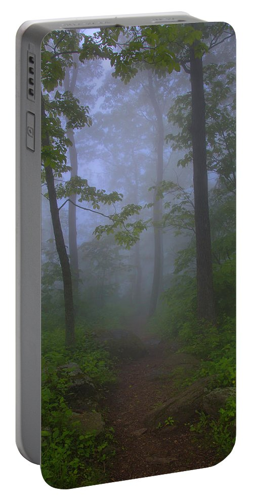 Landscape Portable Battery Charger featuring the photograph Pathway Through The Fog by Anthony Zeljeznjak