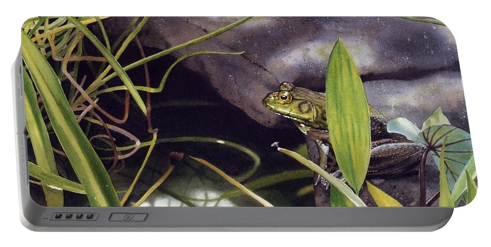 Frog Portable Battery Charger featuring the painting Patience by Denny Bond