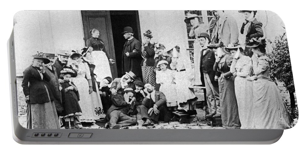1890 Portable Battery Charger featuring the photograph Patients Wait To See Dentist by Underwood Archives