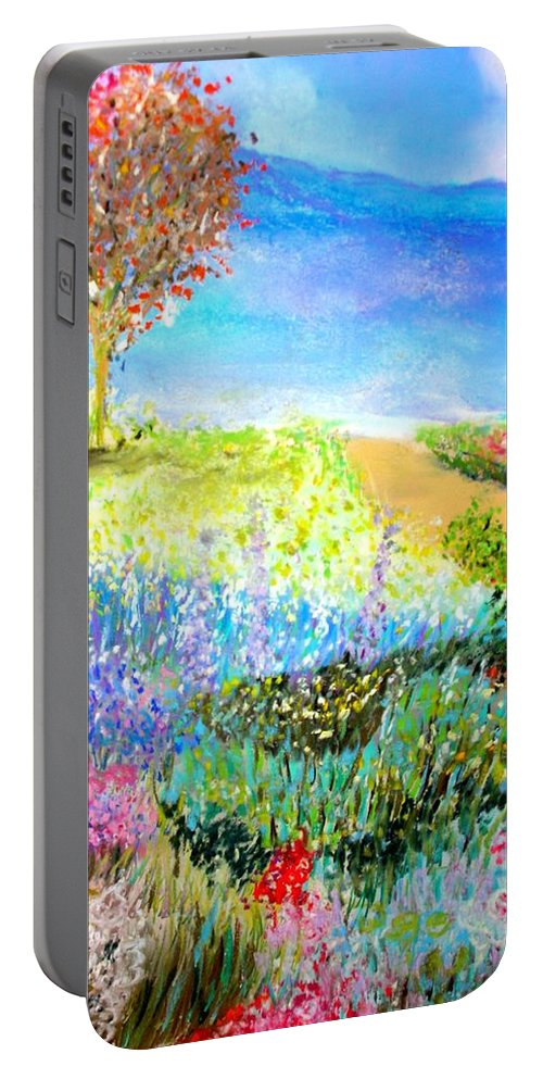 Landscape Portable Battery Charger featuring the print Patricia's Pathway by Melinda Etzold