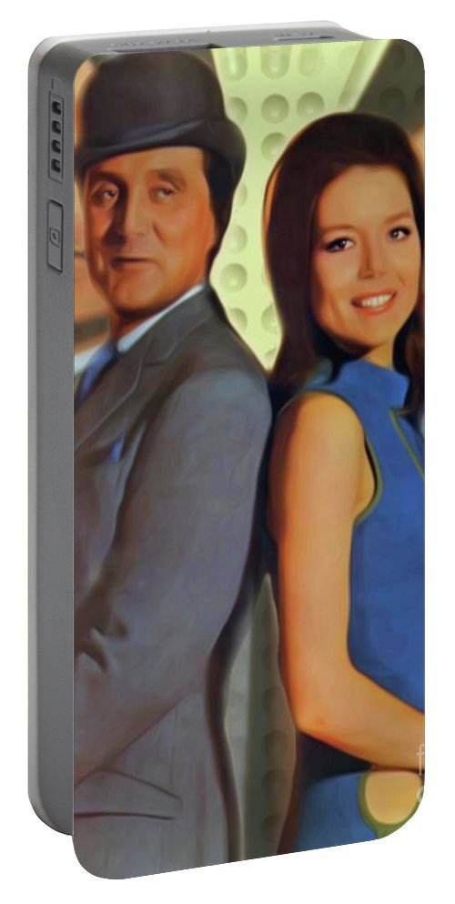 Patrick Portable Battery Charger featuring the digital art Patrick Macnee And Diana Rigg, The Avengers by Mary Bassett