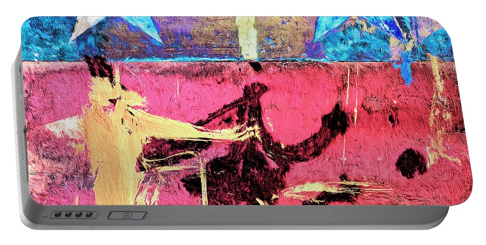 Abstract Portable Battery Charger featuring the painting Patriot Act by Dominic Piperata