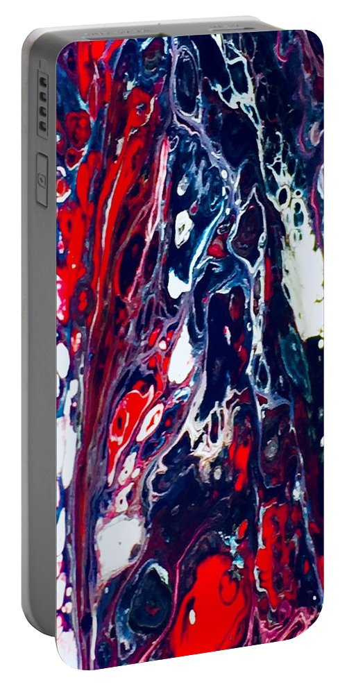 Acrylic Portable Battery Charger featuring the mixed media Patriot Forest by B R Wiatrek