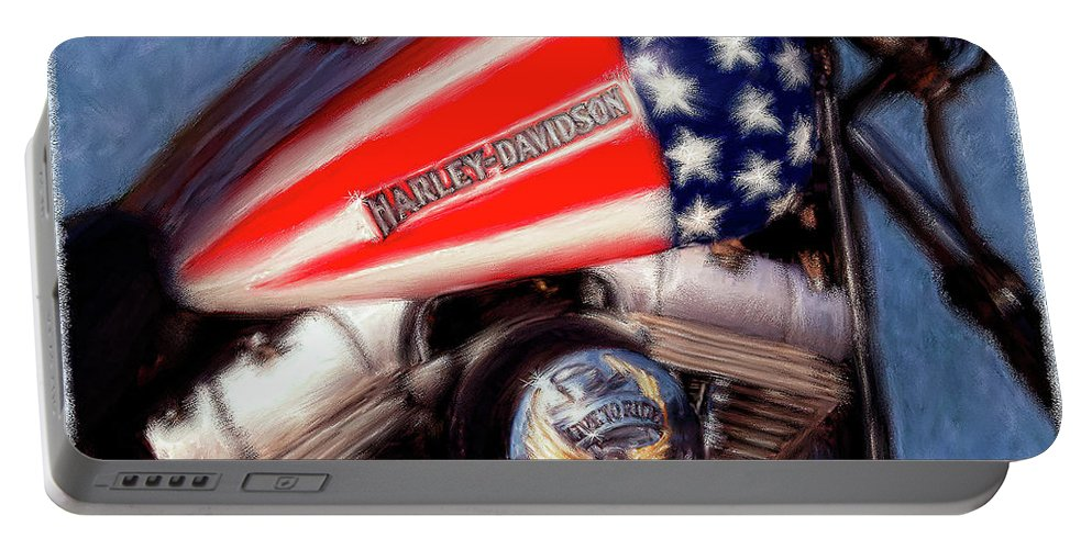 Motorcycles Portable Battery Charger featuring the painting Live To Ride by Colleen Taylor