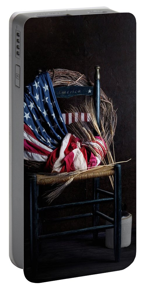America Portable Battery Charger featuring the photograph Patriotic Decor by Tom Mc Nemar
