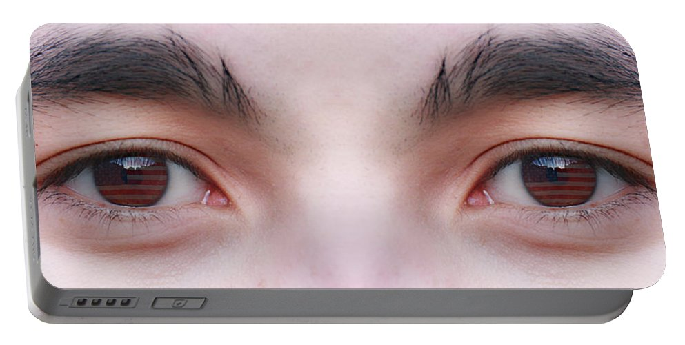 Eyes Portable Battery Charger featuring the photograph Patriotic Eyes by James BO Insogna