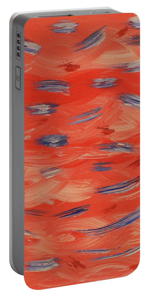 Red Portable Battery Charger featuring the painting Patriotic by Jennifer C Griffen