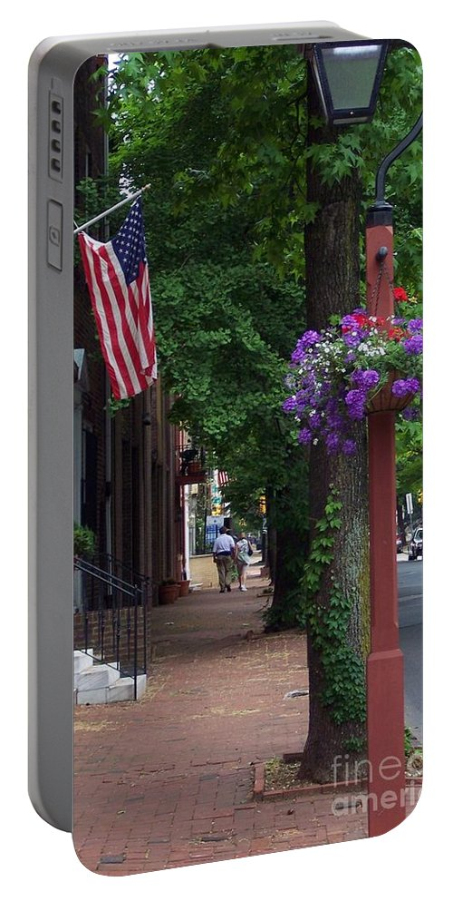 Cityscape Portable Battery Charger featuring the photograph Patriotic Street In Philadelphia by Debbi Granruth