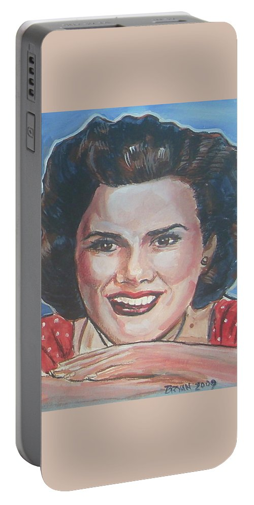 Patsy Cline Portable Battery Charger featuring the painting Patsy Cline by Bryan Bustard