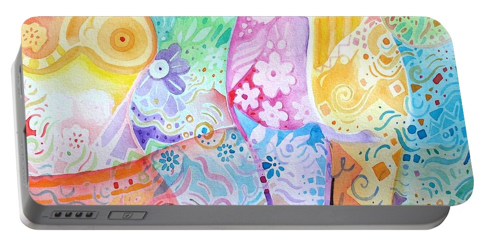 Woman Portable Battery Charger featuring the painting Pattern And Form I by Helena Tiainen