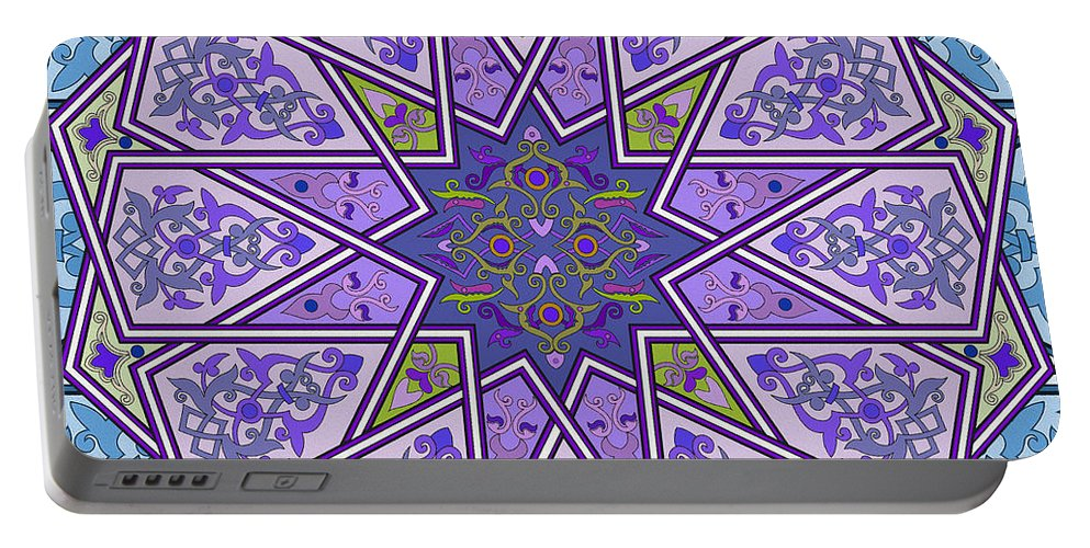 Pattern Art Portable Battery Charger featuring the painting Pattern Art 006 by Gull G
