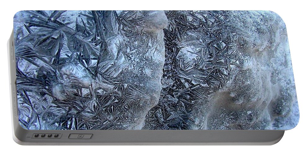Icescape Portable Battery Charger featuring the photograph Patterned Ice by Ron Bissett