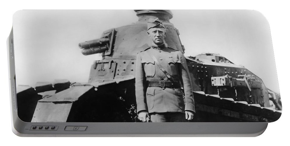 George Patton Portable Battery Charger featuring the photograph Patton Beside a Renault Tank - WWI by War Is Hell Store