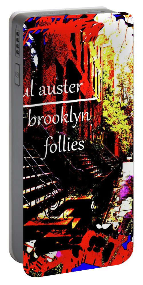 Paul Auster Portable Battery Charger featuring the mixed media Paul Auster Poster Brooklyn by Paul Sutcliffe