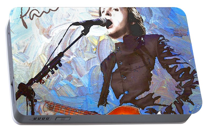Paul Mccartney Portable Battery Charger featuring the digital art Paul Mccartney One by Linda Mears