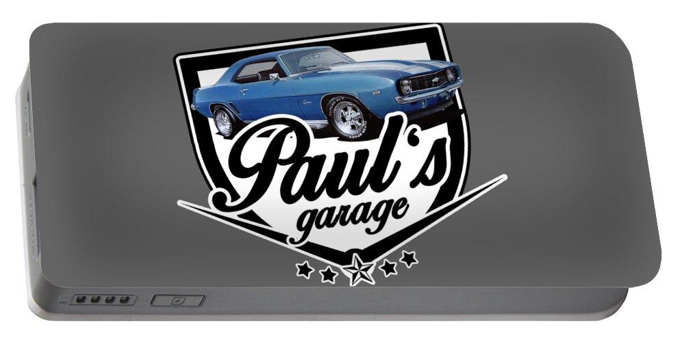 Garage Portable Battery Charger featuring the digital art Pauls Garage Camaro by Paul Kuras