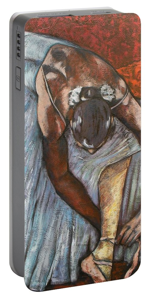 Woman Portable Battery Charger featuring the painting Pausa by Giosi Costan