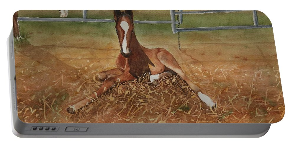 Colt Portable Battery Charger featuring the painting Pavlo's First Day by Ruth Kamenev