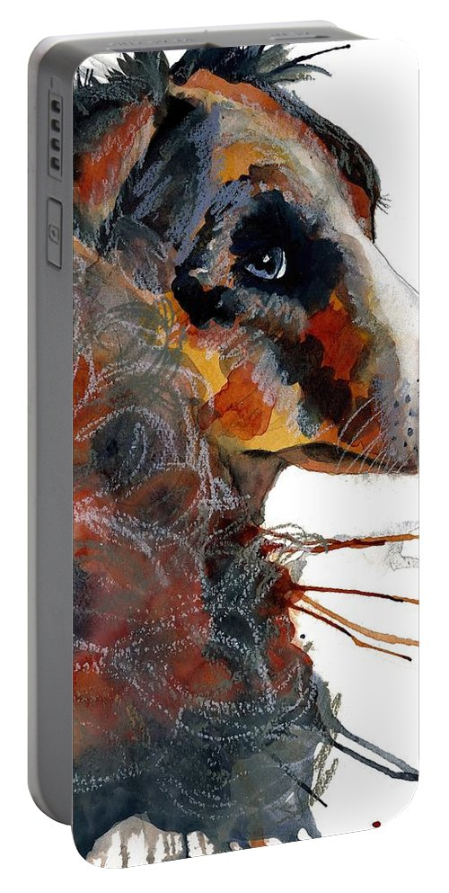 Dog Portable Battery Charger featuring the painting Paws by Gina Rossi armfield