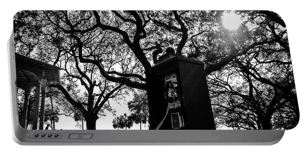 Phone Booth Portable Battery Charger featuring the photograph Pay Phone by Angela Sherrer