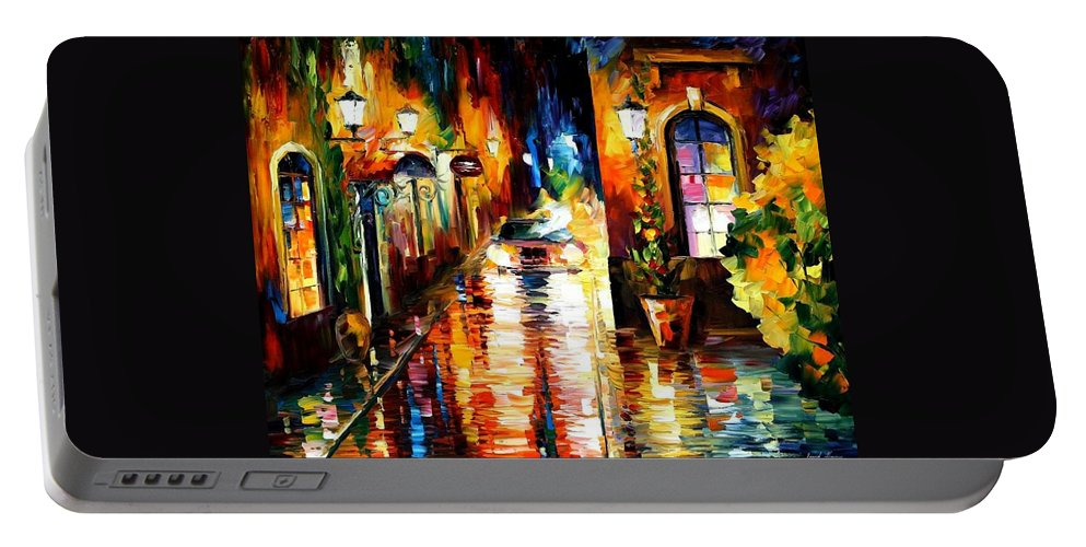 Afremov Portable Battery Charger featuring the painting Paying A Visit by Leonid Afremov