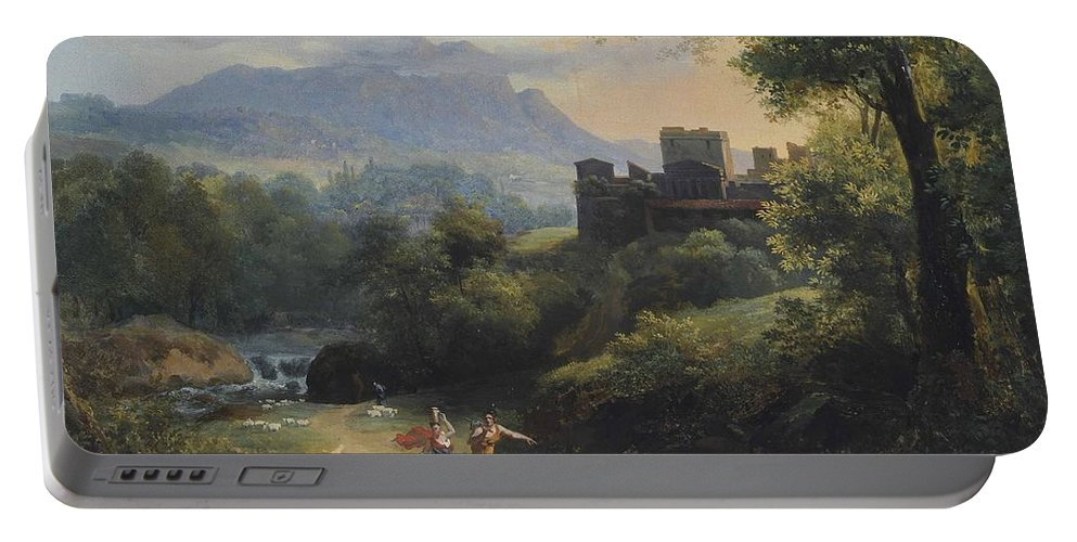 Jean-charles Joseph R�mond - Paysage Arcadien (1820) Portable Battery Charger featuring the painting Paysage Arcadien by MotionAge Designs