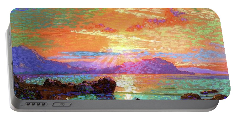 Sun Portable Battery Charger featuring the painting Peace Be Still Meditation by Jane Small